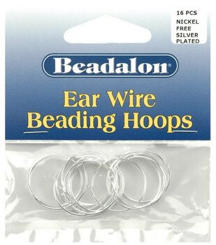 Beadalon 20mm Small Ear Wire Beading Hoops-14PK/Silver Plated