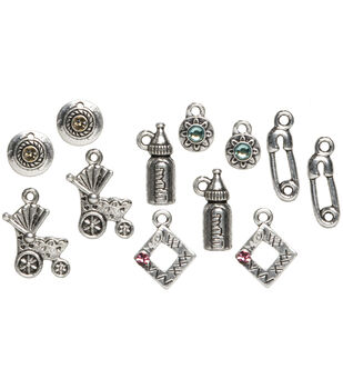 Cousin Trinkettes Metal Silver Charms-Angel & Cross-3PK