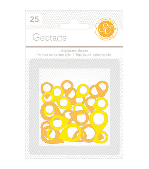Essentials Chipboard Shapes Geotags 25/Pkg