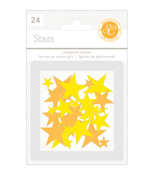 Essentials Chipboard Shapes Stars 24/Pkg