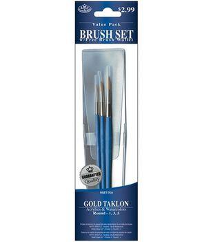 Value Pack Brush Sets-Gold Taklon Round