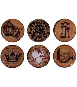 "Vintage Collection Epoxy Stickers 1"" 6/Pk-Amber Romance"
