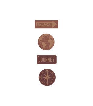 Travel Word Medallion Wood Embellishments