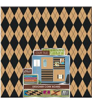 The BoardDudes  Step:1 14x 14 Designer Cork Board Argyle