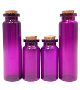 Art-C Small Purple Apothecary Glass Bottles with Cork Topper
