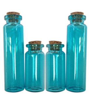Art-C Small Blue Apothecary Glass Bottles with Cork Topper