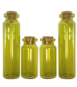 Art-C Small Green Apothecary Glass Bottles with Cork Topper