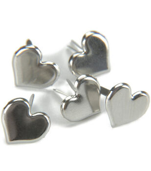 Metal Paper Fasteners-50PK/Silver Hearts