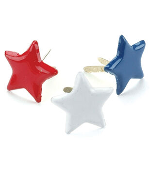 Creative Impressions Painted Metal Paper Fasteners 50PK-Red/White/Blue-Stars