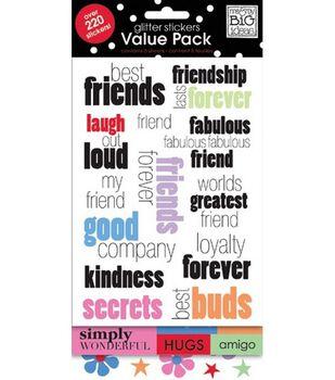 me & my BiG  Ideas Glitter Stickers-Friends