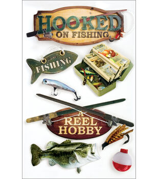 Paper House Fishing 3-D Stickers-Hooked On Fishing