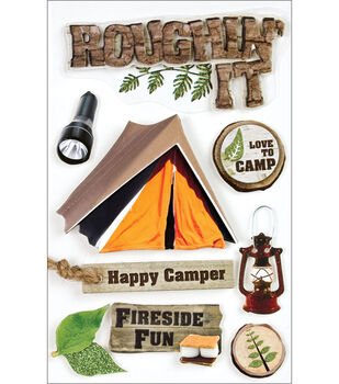 Paper House Camping 3-D Stickers-Roughn' It