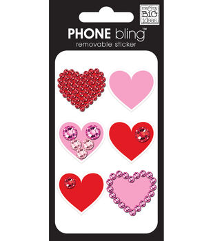 Phone Bling Stickers-Simple Hearts Red/Pink