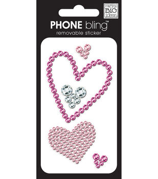 Phone Bling Stickers-Hearts Pink/Clear