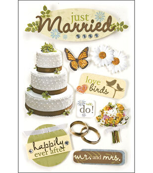 Paper House 3-D Stickers-Just Married