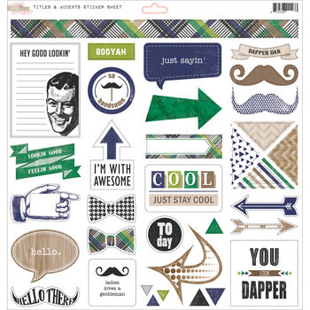 Glitz Design Dapper Dan Cardstock Stickers Titles & Accents