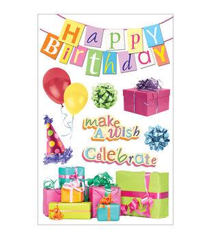Paper House 3-D Sticker Happy Birthday