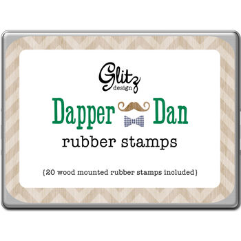 Glitz Design Dapper Dan Rubber Stamps Tin