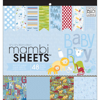 Me & My Big Ideas Mambi Sheets Specialty Cardstock Paper Oh Baby Boy