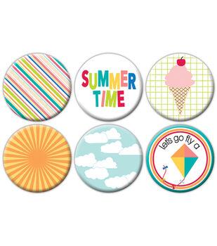 Summer Flair Self-Adhesive Tin Badges 6/Pkg-