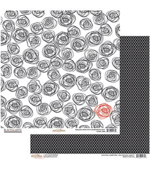 "Floral - Black and White Double-sided Heavy Weight Paper 12""x12"""