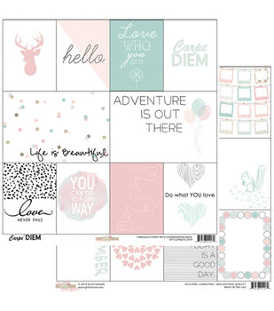 "Bits and Pieces - Carpe Diem Double-sided Heavy Weight Cardstock 12""x12"""