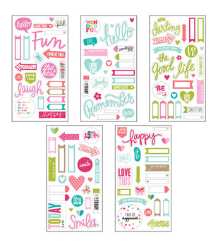 Me & My Big Ideas Pocket Pages Clear Stickers 5 Sheets/Pkg-Happy