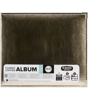 """We R Faux Leather 3-Ring Binder 12""""X12""""-Gold"""