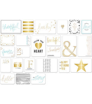 """Teresa Collins Albums Made Easy Journaling Cards 3""""X4""""-Studio Gold"""