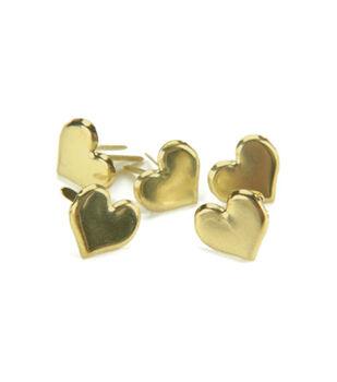 Metal Paper Fasteners-50PK/Gold Hearts
