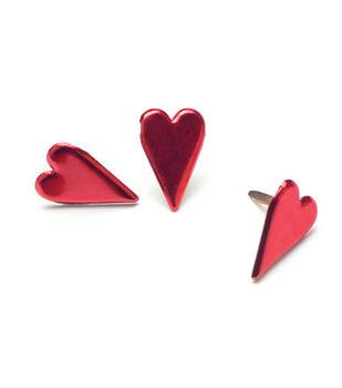 Painted Metal Heart Paper Fasteners-50PK/Metallic