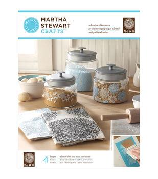 "Martha Stewart Adhesive Silkscreen 8-1/2""X11"" 1 Sheet/Pkg-Floral Doily 4 Designs"