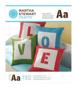 "Martha Stewart Large Paper Stencil 9""X7-1/2"" 36 Sheets/Pkg-Sans Serif Alphabet 73 Designs"