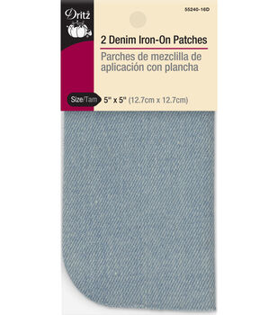 Dritz 5'' x 5'' Denim Iron-on Patches Stonewashed 2pcs