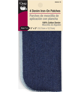 Dritz 5'' x 5'' Denim Iron-on Patches Light & Dark Assorted 4pcs