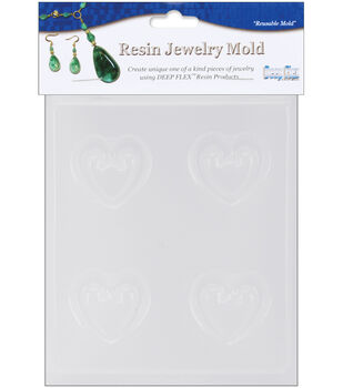 "Yaley Resin Jewelry Reusable Plastic Mold 4.5""X6.5-Hearts"