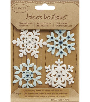 Jolee's Boutique Christmas Stickers-Fun Felt Snowflakes