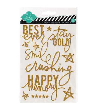 "Heidi Swapp Mixed Media Glitter Stickers 5""X7""-Gold, Best Ever"