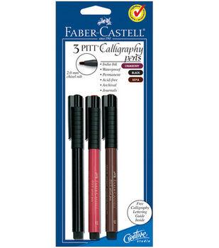 PITT Calligraphy Pen 2mm Chisel Tip 3/Pkg-Cranberry Red, Black, Sepia