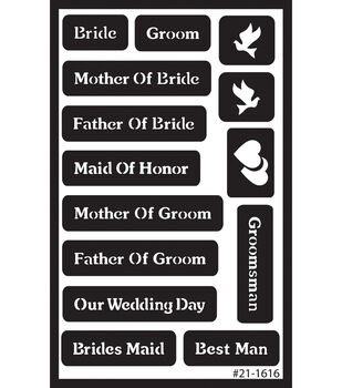 Over 'n' Over Reusable Glass Etching Stencils-Wedding