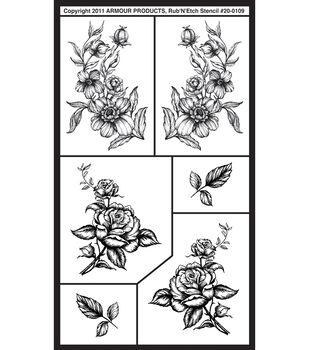 Rub 'n' Etch Glass Etching Stencils-Detailed Floral