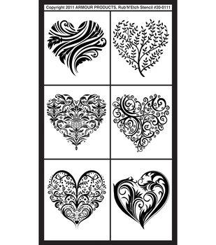 Rub 'n' Etch Glass Etching Stencils-Fancy Hearts