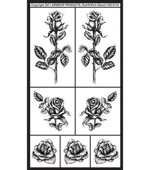 Rub 'n' Etch Glass Etching Stencils-Detailed Roses