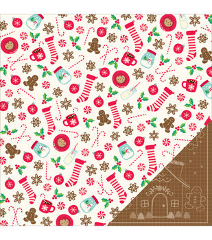 "Home For Christmas Double-Sided Cardstock 12""X12""-Gingerbread"