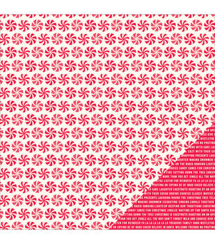 "Home For Christmas Double-Sided Cardstock 12""X12""-Peppermint Swirl"