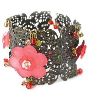 Laliberi Flowers & Brass Bracelet Kit-Floral Section Cuff