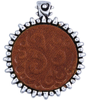 Silver Creek Metal/Leather Pendant 1/Pkg-Saddle Tan Swirl