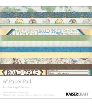 Kaisercraft 6''x6'' Paper Pad-24PK/Pack Your Bags