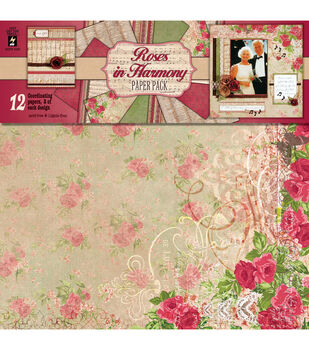 "Paper Pack 12""X12"" 12 Sheets/6 Designs, 2 Each-Roses In Harmony"
