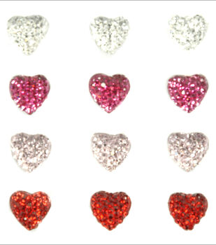 Sparklets Self-Adhesive Rhinestone Clusters-Hearts